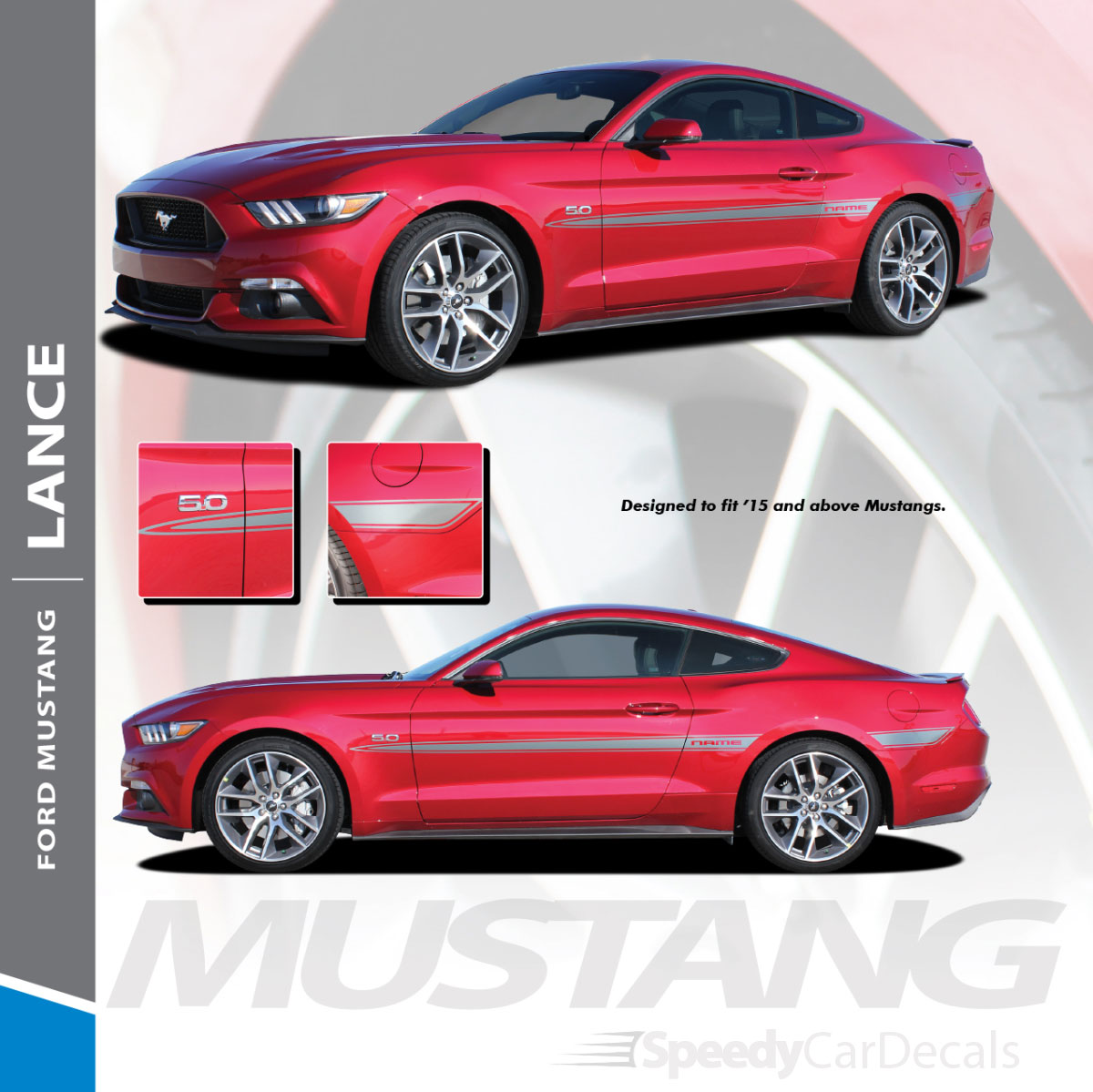 Lance 2015 2017 ford mustang mid door accent stripes vinyl graphic decals kit