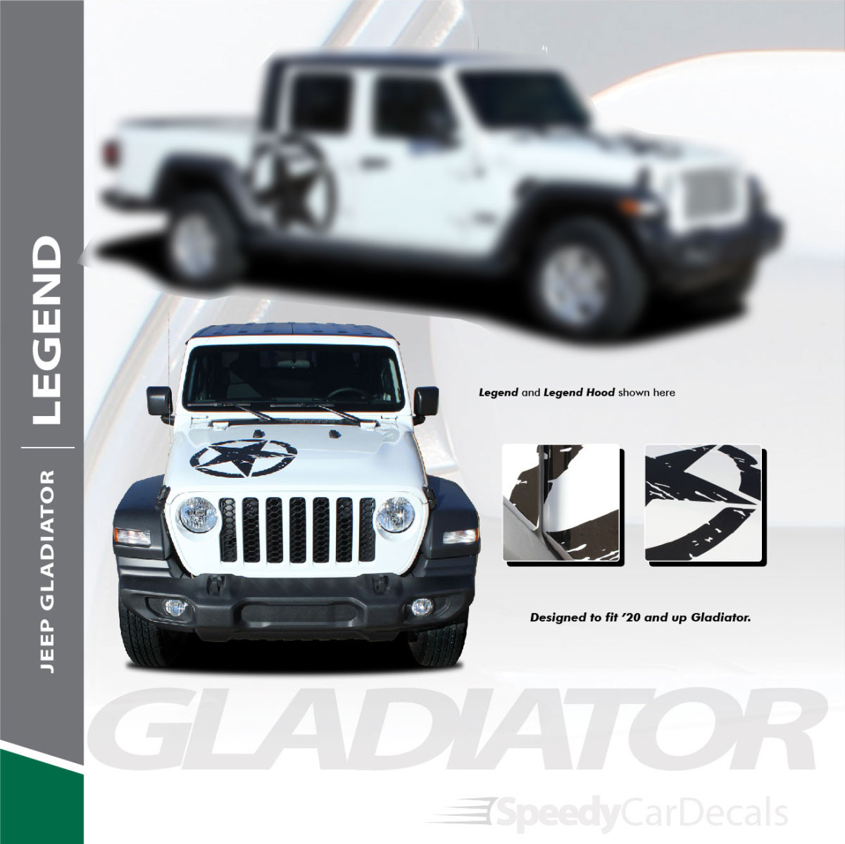 LEGEND : Jeep Gladiator Hood & Side Stripes 2020-2021