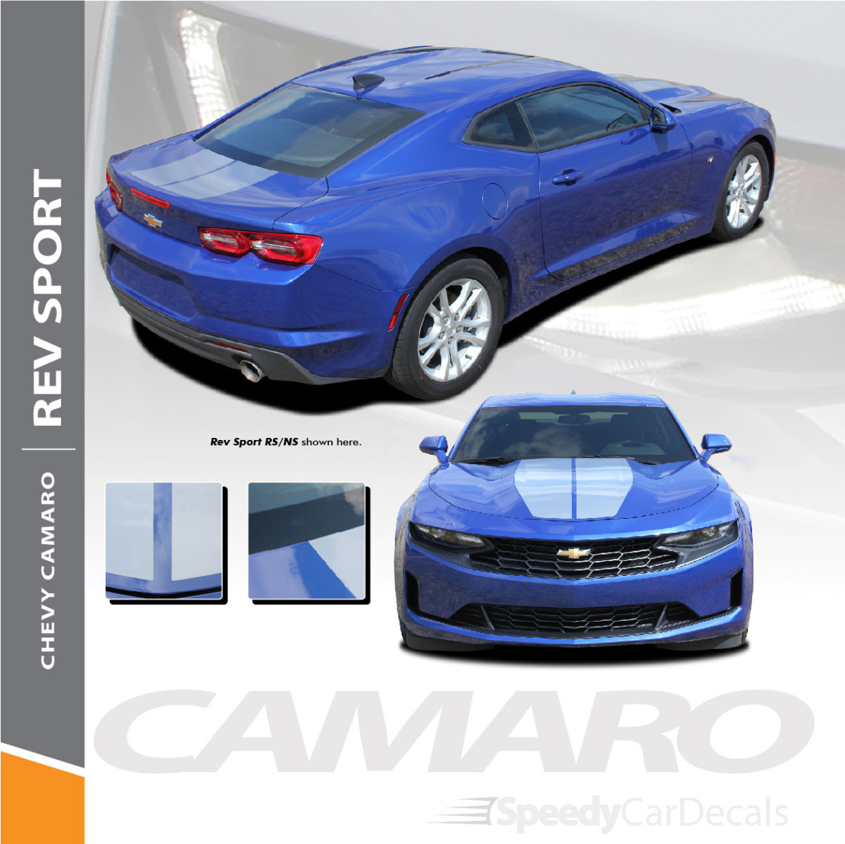 REV SPORT 2019 Chevy Camaro Racing Stripes, Center Hood Stripes  and Trunk Decals