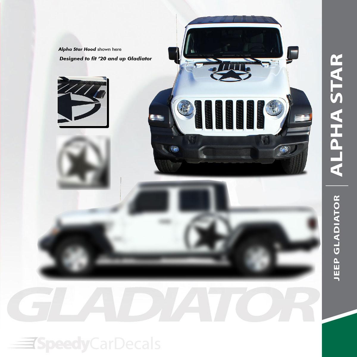 ALPHA STAR HOOD : 2020 Jeep Gladiator Hood Stripes Kit 2020-2021