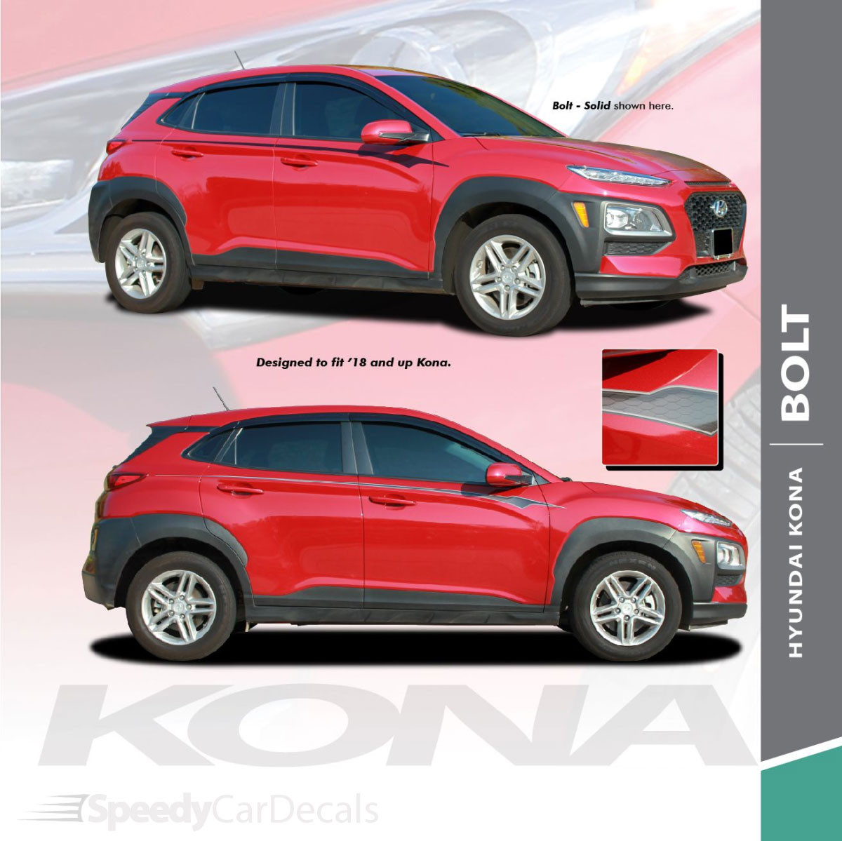 NEW! 2020-2021 Hyundai Kona Side Decals BOLT KIT