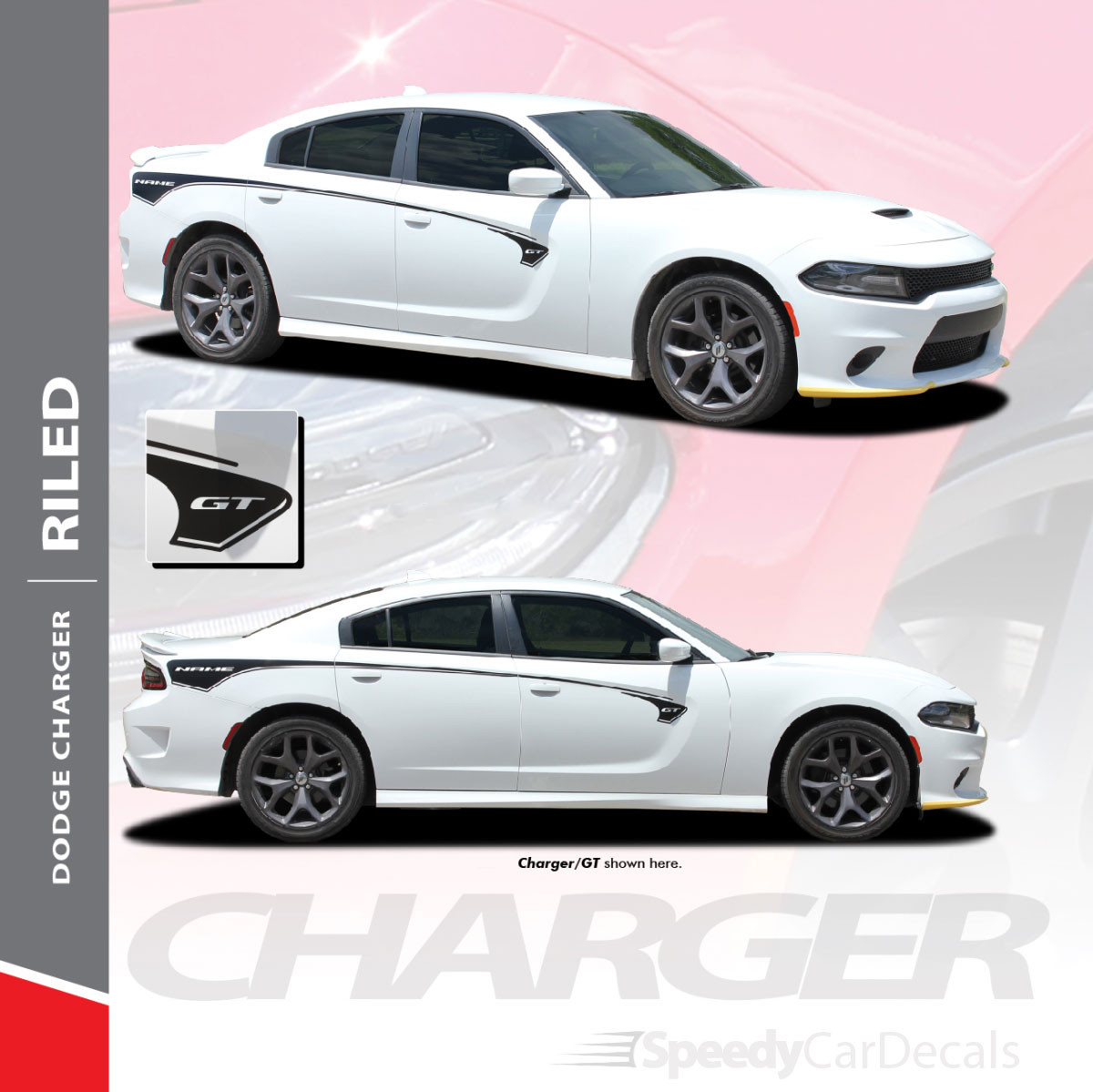 2015-2021 Dodge Charger Body Line Stripes RILED SIDE KIT