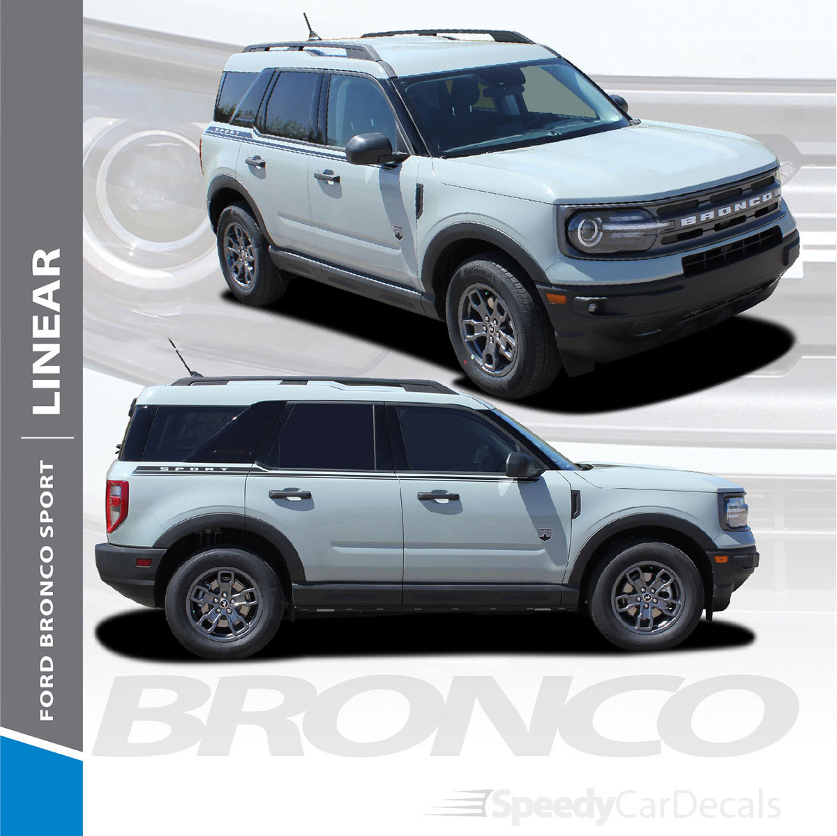 2021 Ford Bronco Side Stripes LINEAR SIDE 2021 and up All Models