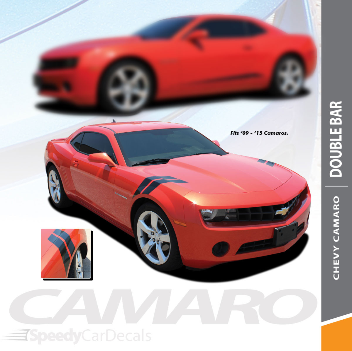 Rally Sport or SS Chevy Camaro Hash Stripes DOUBLE BAR 2009-2015
