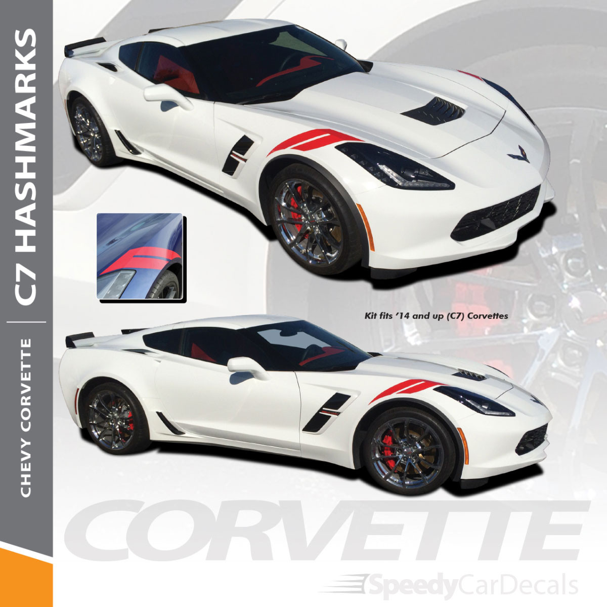 2014-2019 Chevy Corvette C7 HASHMARKS Stripes