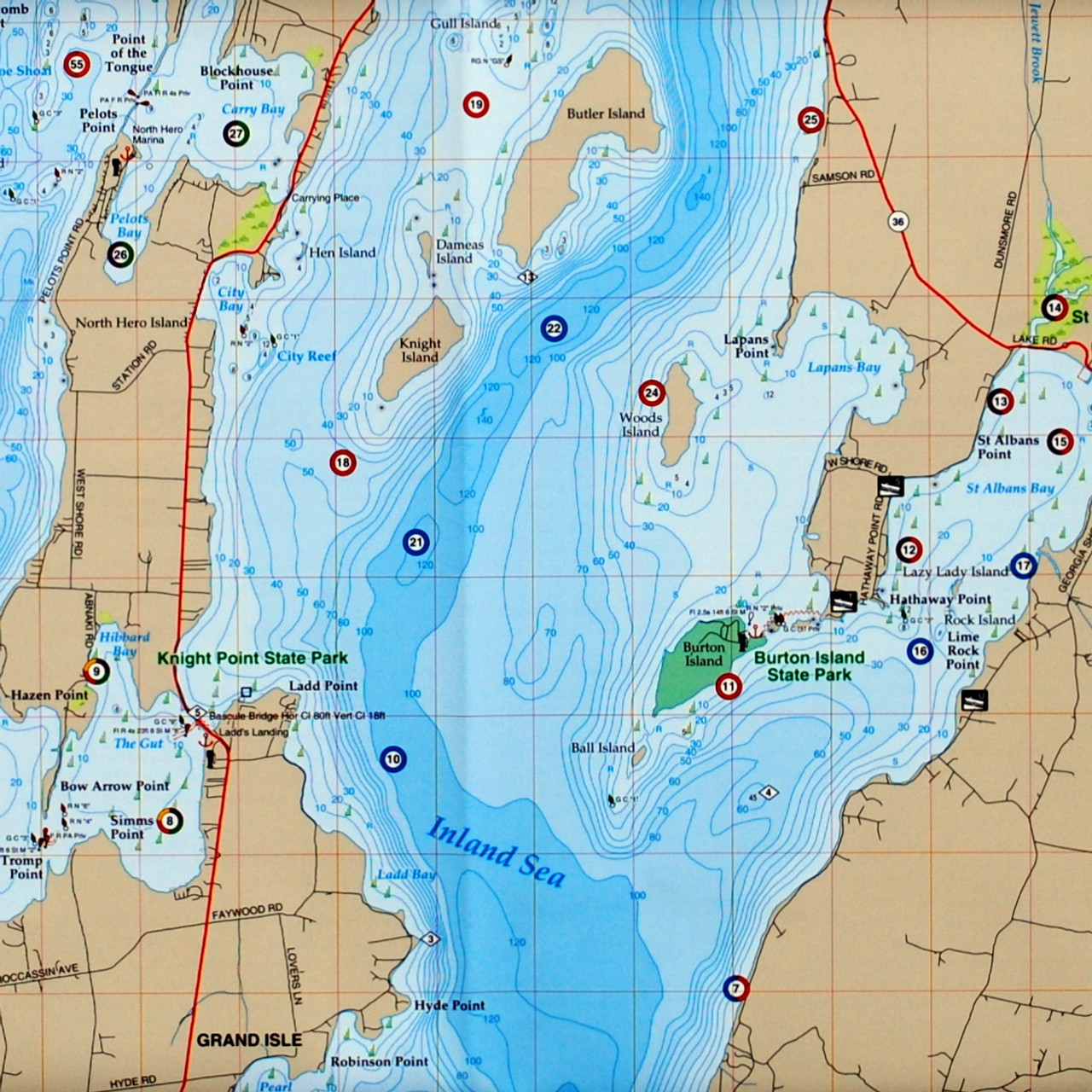 NY STATE FISHING HOT SPOTS FISHING MAPS OF LAKE CHAMPLAIN NORTH,SOUTH /& CENTRAL