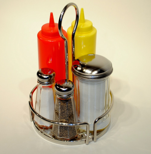 Stainless Round Condiment Rack -Diner Style