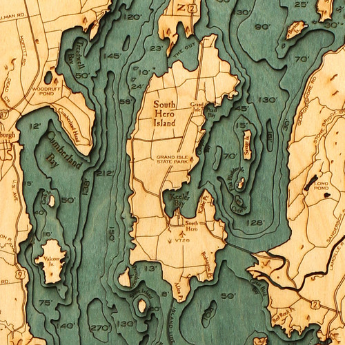 Lake Champlain Wood Chart 44x14''