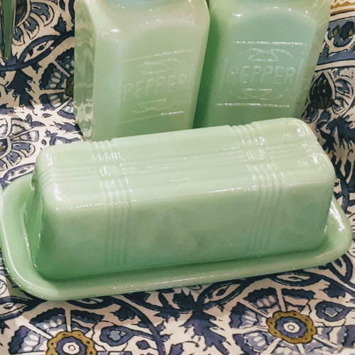 Jade Glass Butter Dish