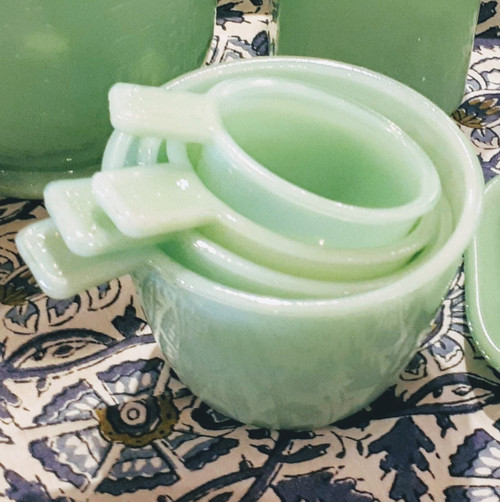 Jade Green Glass Measuring Cups