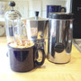 A stovetop espresso machine, our Dosacaffe, and a frother: amazing cappuccini at home!