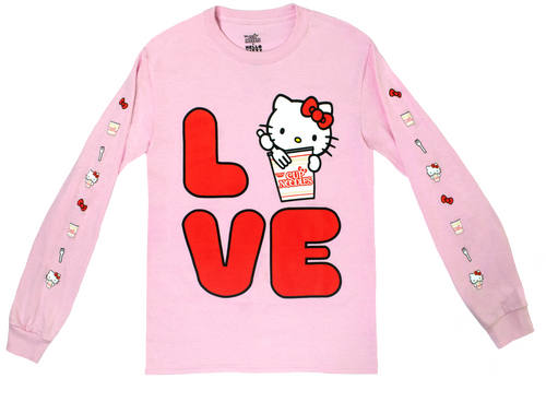 Hello Kitty Cup Noodles Love Pink Long Sleeve Tee