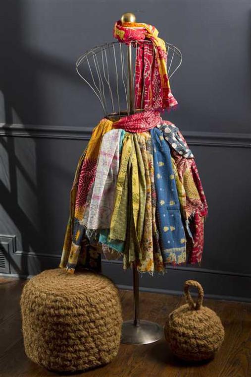Vintage Cotton Scarf with Kantha Stitch