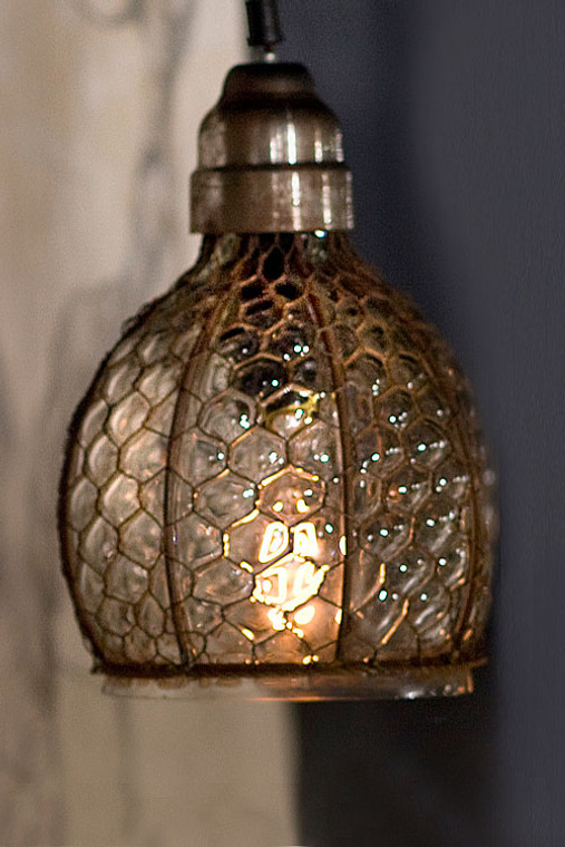Chicken Wire and Glass Wide Pendant