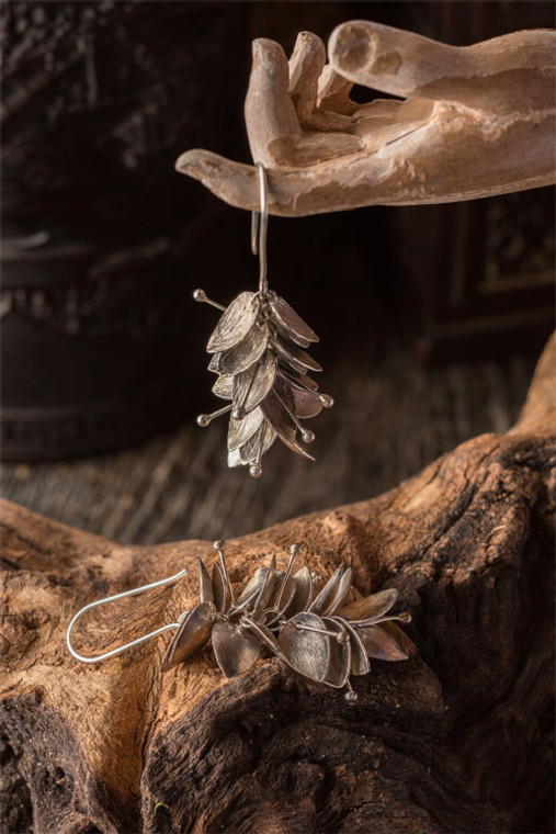 Silver Plated Leaf Cluster Earrings