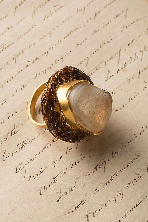 White Quartz Druzy Nest Ring