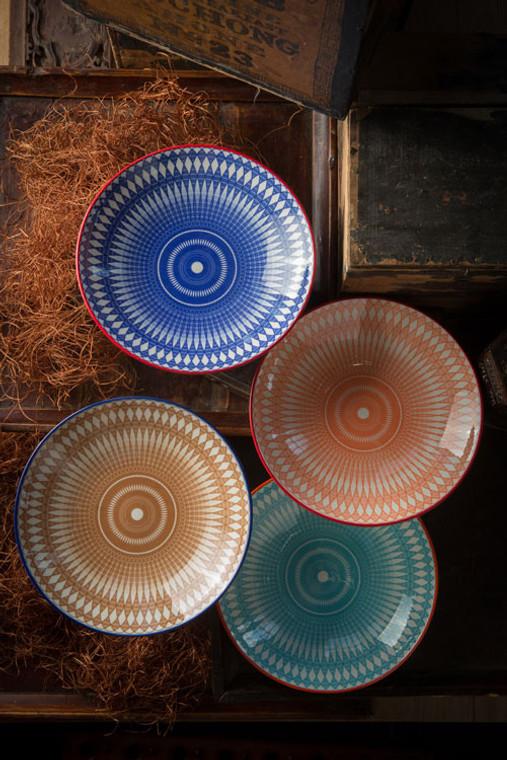 Geometric Print Ceramic Bowls - Large