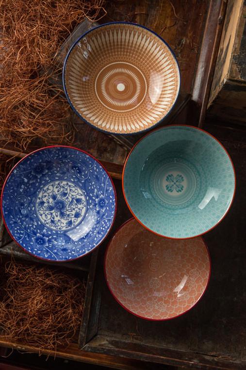 Floral Motif Ceramic Bowls - Medium