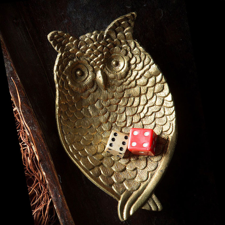 Pewter Owl Jewelry/Coin Tray in Gold