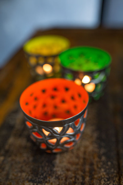 Perforated Pewter Votive Holder