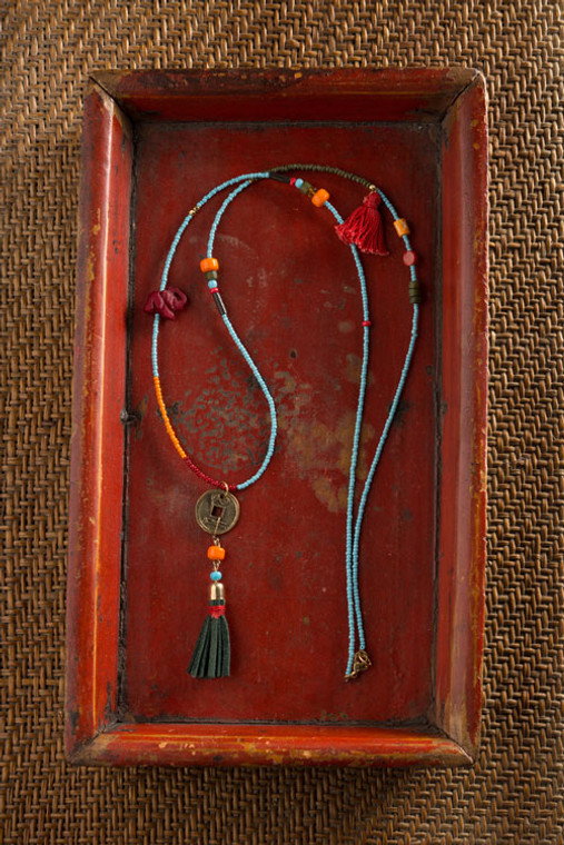 Chinese Coin and Leather Tassel Charm Necklace