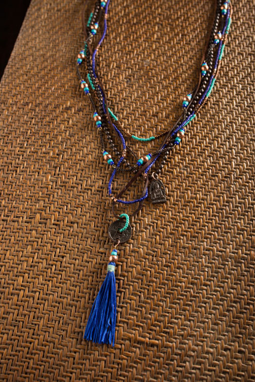 Indigo and Turquoise Metal Coin Tassel Necklace