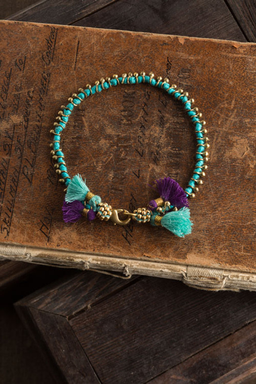 Turquoise Cord Bracelet with Purple Tassels