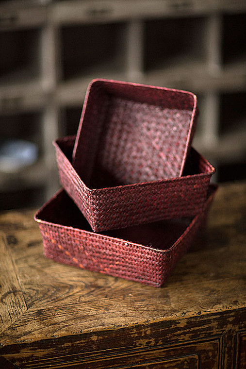 Red Rattan & Wire Trays - Set of 3