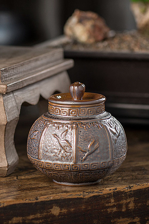 Dark Brown Ceramic Storage Canister with Bird Motif