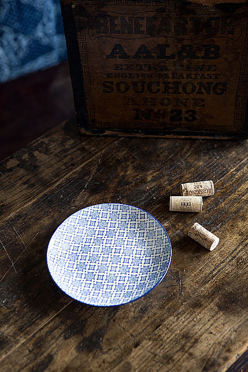 Blue and White Round Plate - III