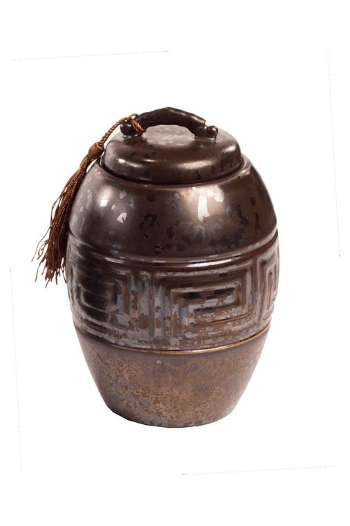 Dark Brown Ceramic Storage Canister with Brown Tassel