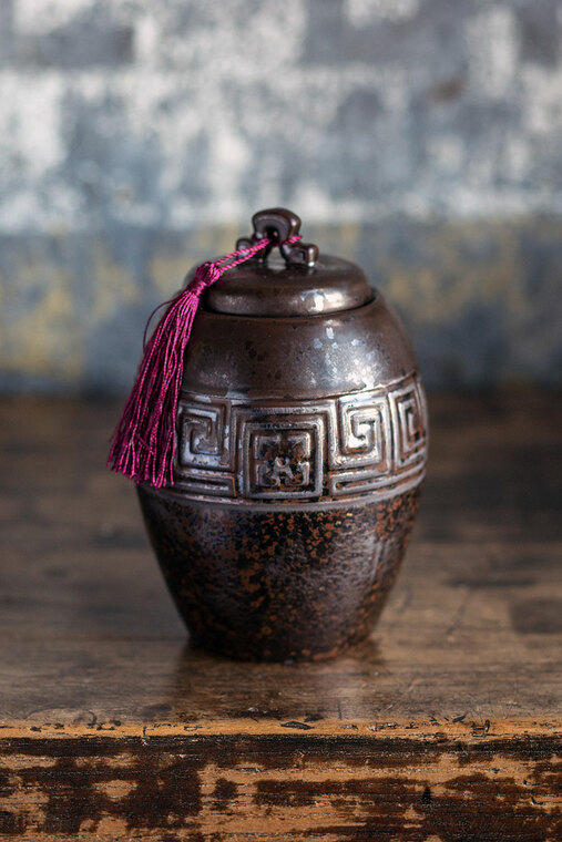 Dark Brown Ceramic Storage Canister with Maroon Tassel