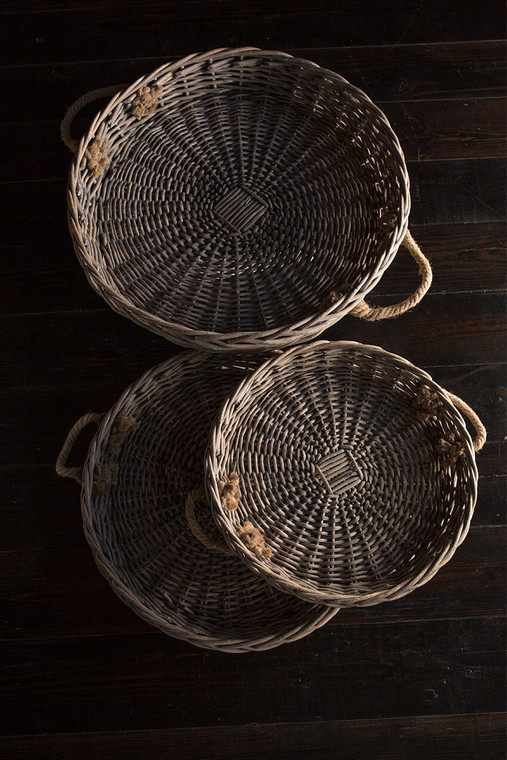 XLarge Round Willow Serving Trays - Set of 3