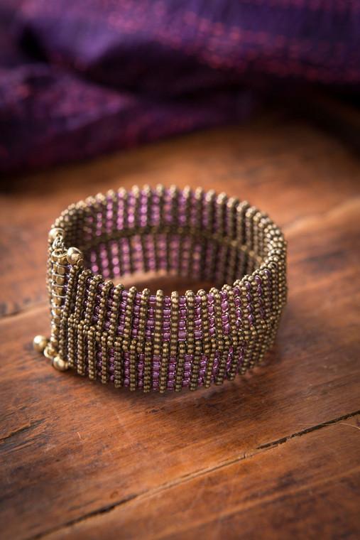 Amethyst Glass Bead Cuff