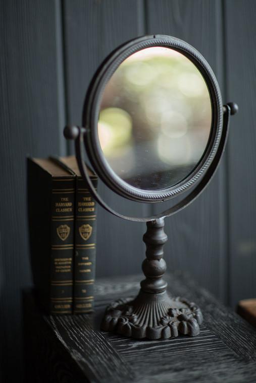 Round Cast Iron Pivoting Mirror