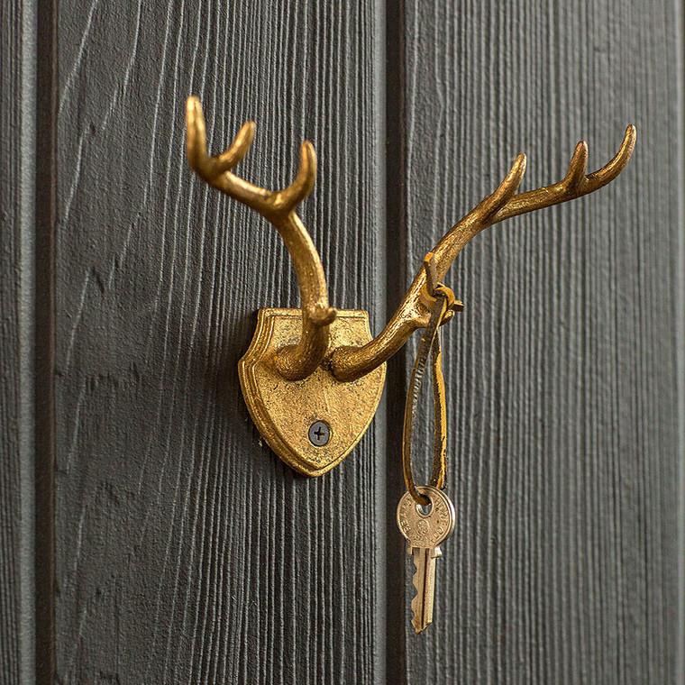 Cast Iron Gold Leaf Antler Hook