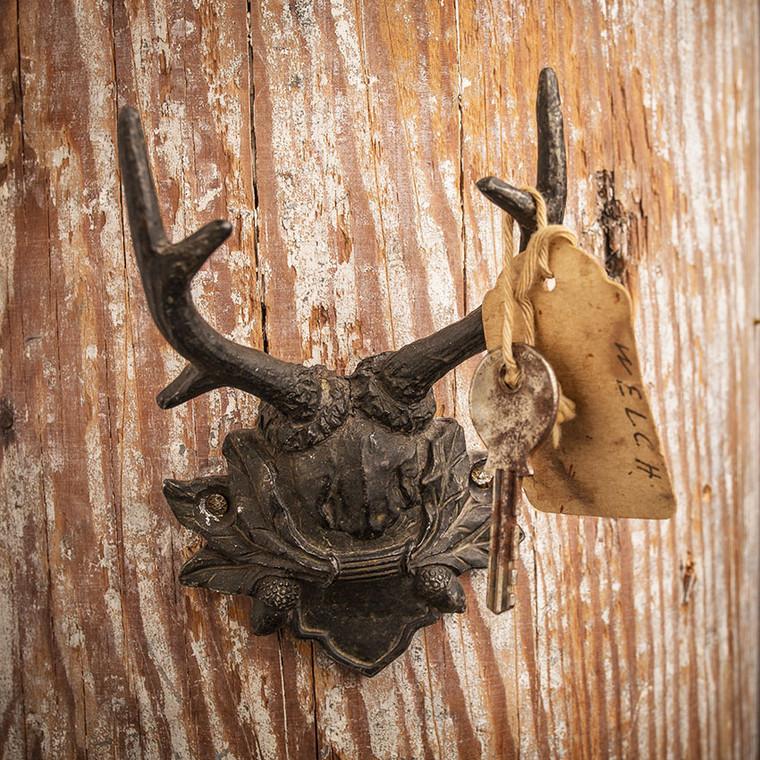 Antiqued Black Pewter Antler Hook