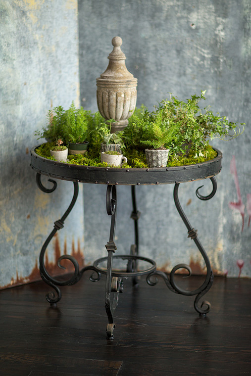 Wrought Iron Glass Top Display Table