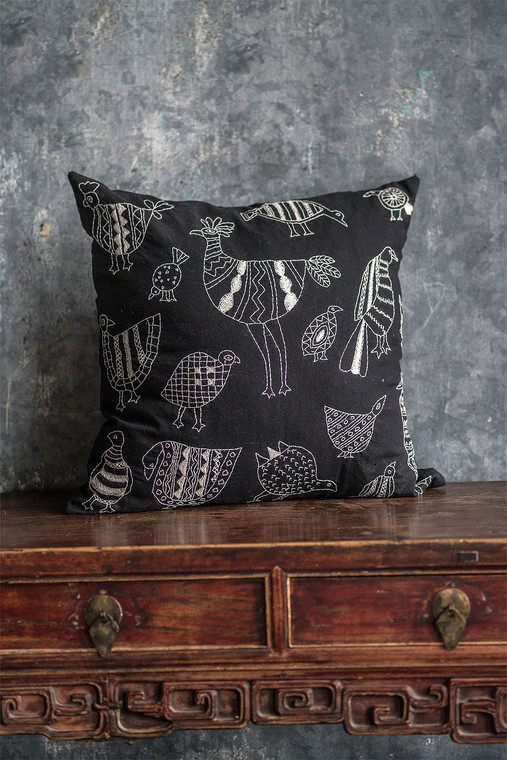 Black Cotton Pillow Cover with Bird Embroidery