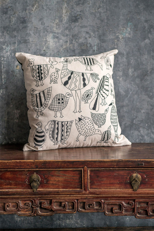 White Cotton Pillow Cover with Bird Embroidery