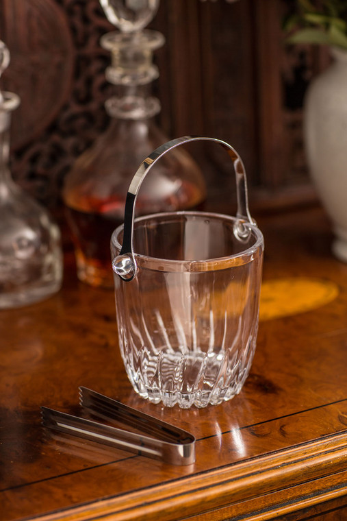 Glass Ice Bucket with Tongs