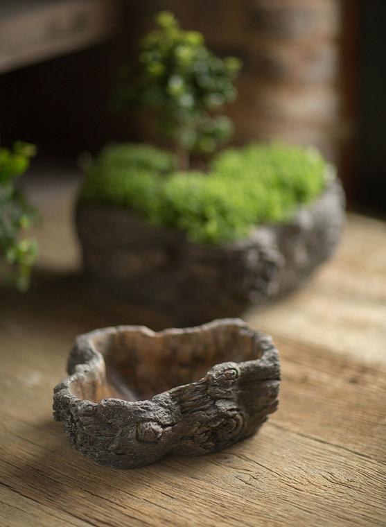 Cement Burled Bark Planter