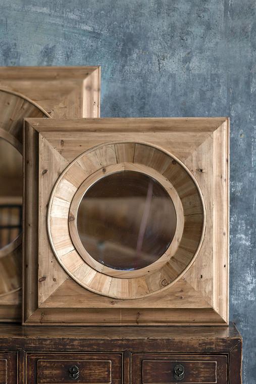 Pine Round Frame Small Mirror