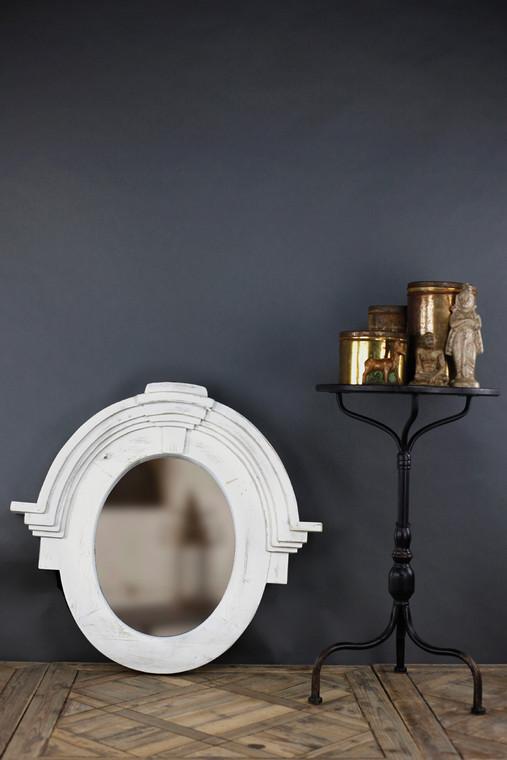 Architectural Mansard Mirror in White Finish