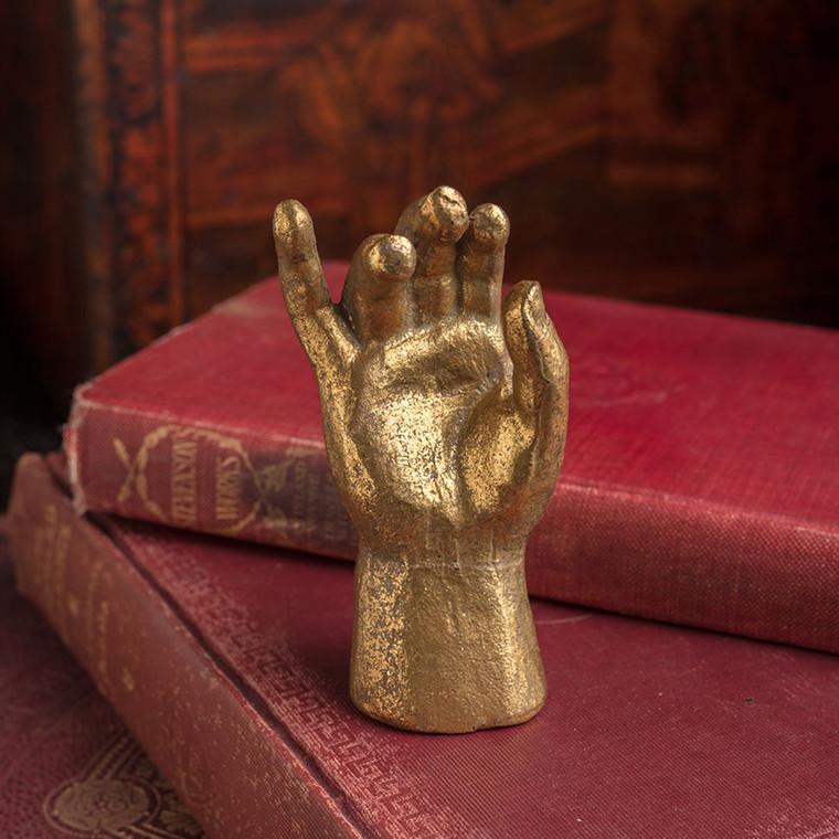 Heavy Pewter Gold Leaf Saint Hand - B