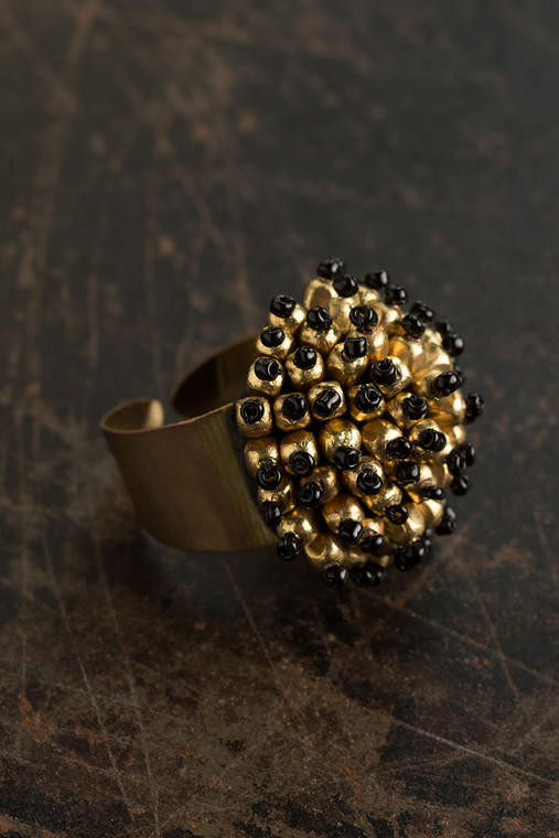 Adjustable Metal Ring in Black and Gold