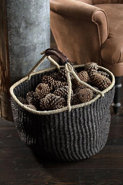 Handwoven Seagrass Market Basket in Black
