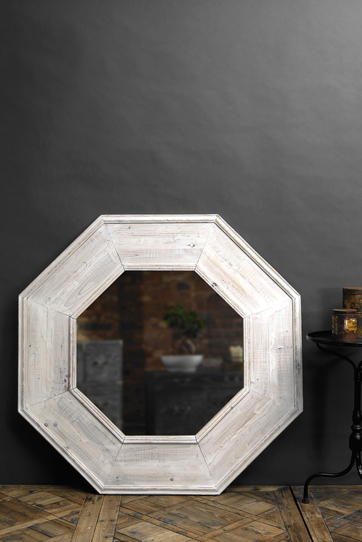 Rustic Recycled Pine Octagonal Mirror in White Wash