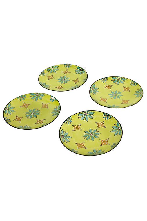 Set of 4 Handpainted Ceramic Plates - Green