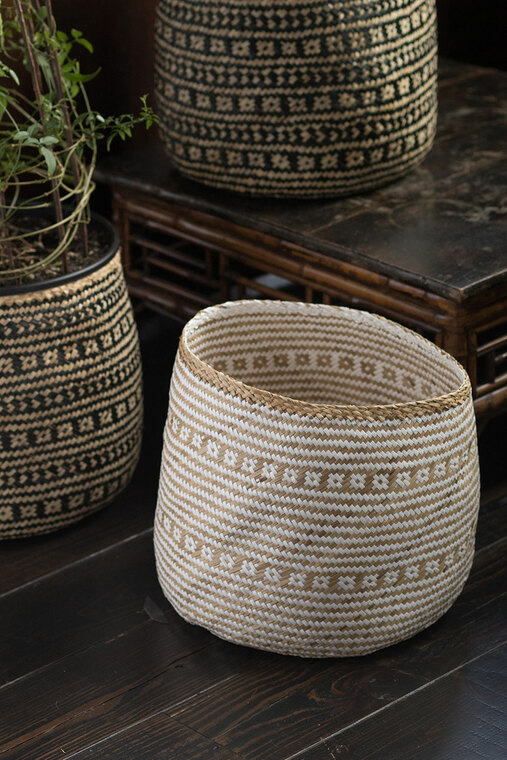 Handwoven Cylinder Basket in White & Natural Seagrass